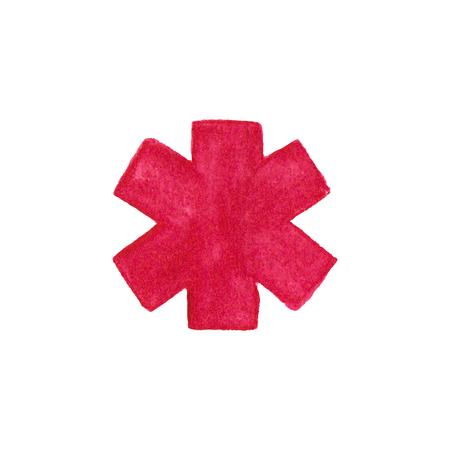 esculapio: Acuarela s�mbolo de emergencia m�dica en el fondo blanco