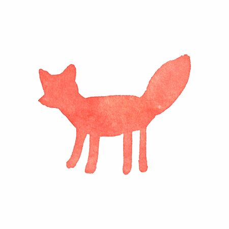 Watercolor fox on the white background Vector