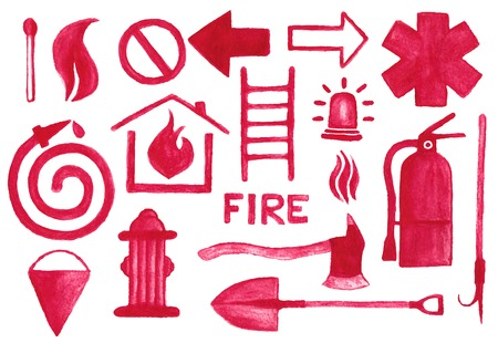 bombero de rojo: Iconos de lucha contra incendios establecidas