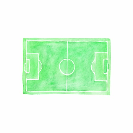Football field. Watercolor object on the white background.