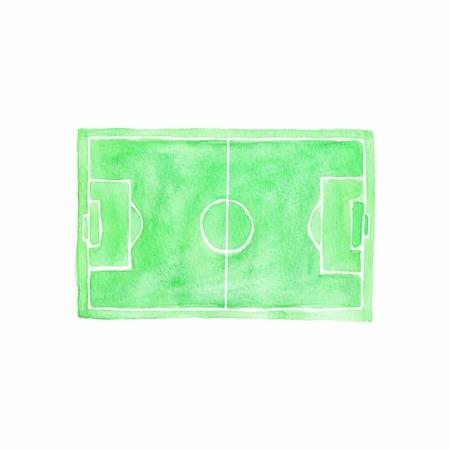 sideline: Campo de f�tbol. Acuarela objeto en el fondo blanco.