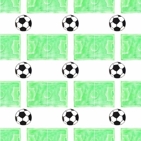 soccer pitch: Watercolor seamless pattern with ball and football field on the white background