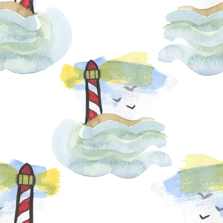 lighthouse keeper: Seamless watercolor pattern with lighthouse on the white background