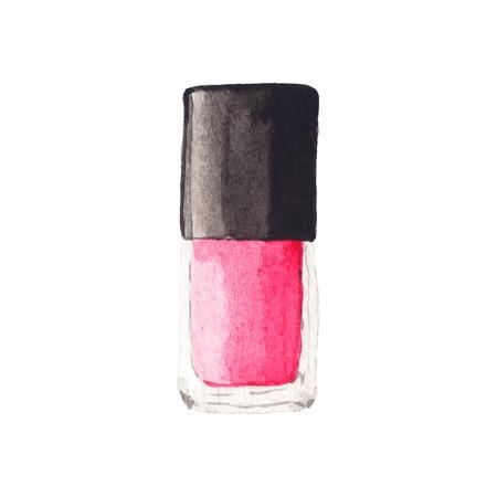 nail polish bottle: Watercolor nail polish. Illustration