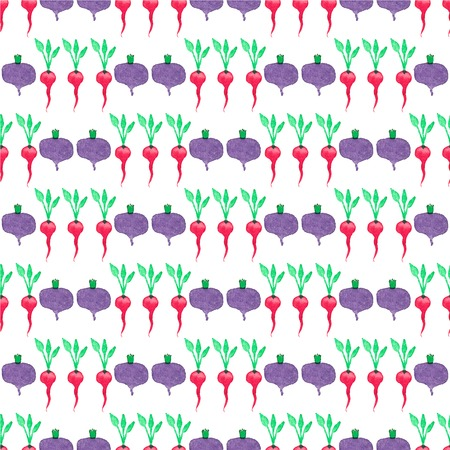 beetroot: Seamless watercolor pattern with beetroot and radishes on the white background. Illustration