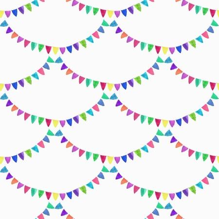 白い背景の花輪と水彩のシームレス パターン