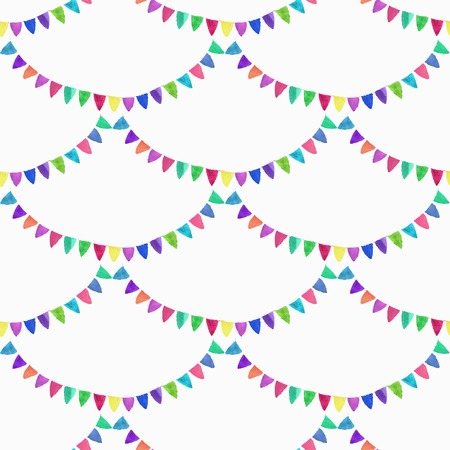 Watercolor seamless pattern with garlands on the white background