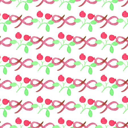 cranberries: Seamless watercolor pattern with cranberries on the white background Illustration