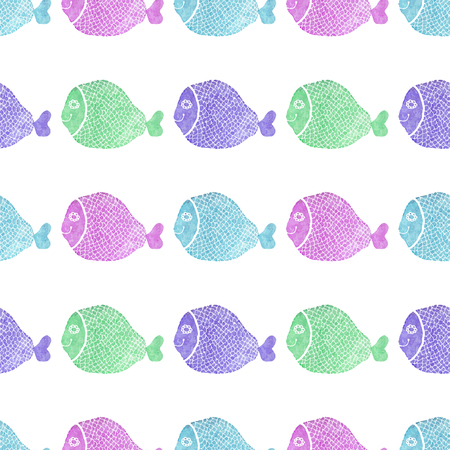 Watercolor seamless pattern with fish on the white background Vector