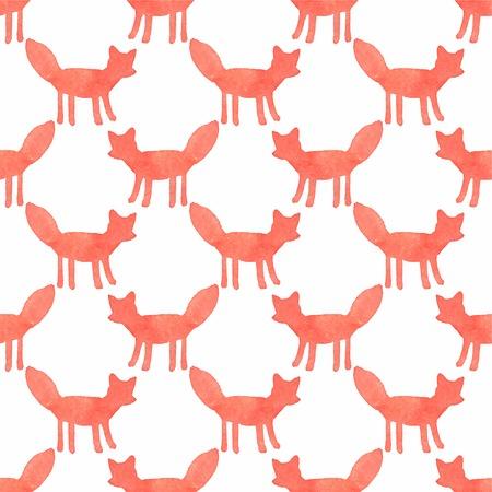 zorro: Acuarela Modelo inconsútil con los zorros en el fondo blanco