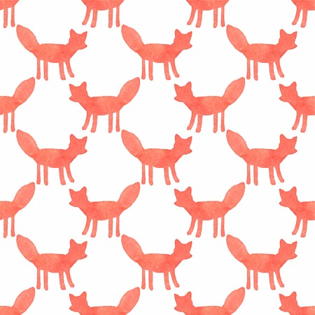Watercolor seamless pattern with foxes on the white background Vector
