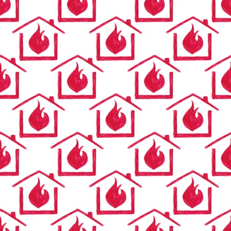 sabotage: Watercolor seamless pattern with house in fire on the white background
