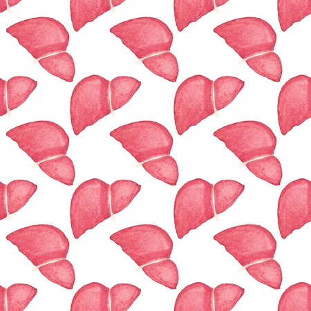 Watercolor seamless pattern with realistic human liver on the white background Vector