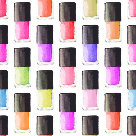 nailpolish: Seamless watercolor pattern with beauty items on the white background Illustration