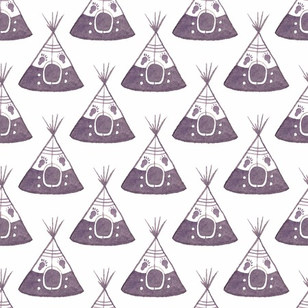 teepee: Watercolor seamless pattern with teepee on the white background Illustration