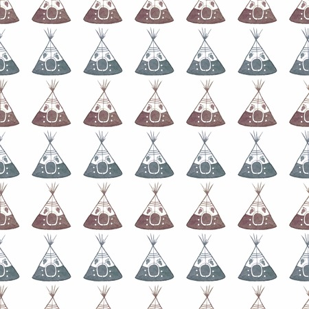 tipi: Watercolor seamless pattern with teepee on the white background Illustration