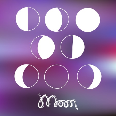 Cartoon moon and moon phases. Vector illustration. Hand-drawn original element isolated on blurred background. Useful for invitations, scrapbooking, design. Vector