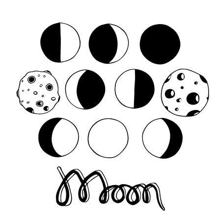 만화 달과 달 단계입니다. 벡터 일러스트 레이 션. 손으로 그린 원래 요소 흰색 배경에 고립입니다. 초대, scrapbooking, 디자인에 유용합니다.