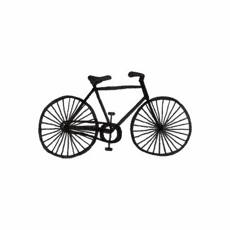 Велосипедная. Doodle велосипед на белом фоне. Спорт, отдых, стиль винтаж. Векторная иллюстрация. Ручной обращается декоративный элемент. Недвижимость чертеж