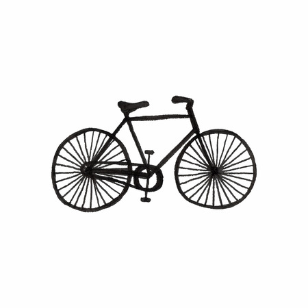 bicycle wheel: Bycicle. Doodle bike on the white background. Sport, recreation, vintage style. Vector illustration. Hand-drawn decorative element. Real drawing