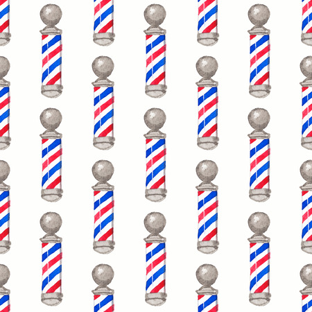 Barber pole.  Seamless watercolor pattern with barber poles on the white background, aquarelle. Vector illustration. Hand-drawn original background for barber shop. Useful for design. Stock Illustratie