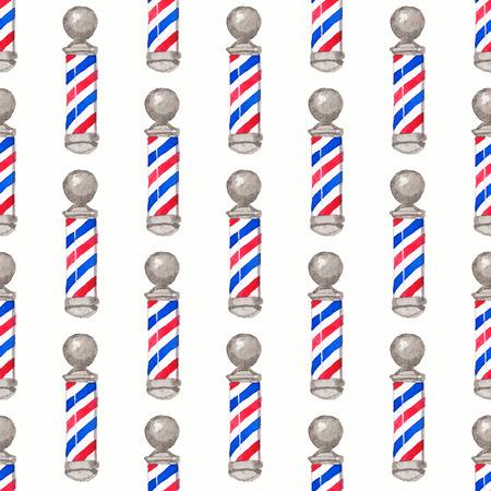 barbero: Poste del peluquero. Patr�n de la acuarela transparente con postes de barbero en el fondo blanco, acuarela. Ilustraci�n del vector. Dibujado a mano a fondo original de peluquer�a. �til para el dise�o.