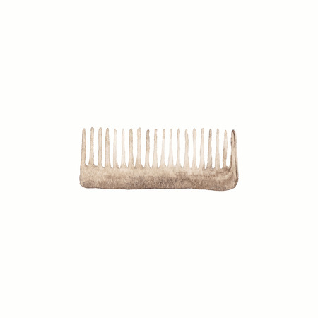 hair brush: Comb or hair brush.  Watercolor brushes on the white background, aquarelle. Barber shop. Vector illustration. Hand-drawn decorative element useful for invitations, scrapbooking, design.