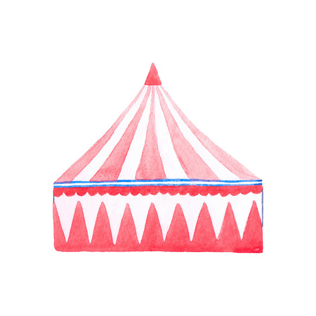 Circus tent. Watercolor red and white tent on the white background, aquarelle. Vector illustration. Hand-drawn decorative element. Real watercolor painting