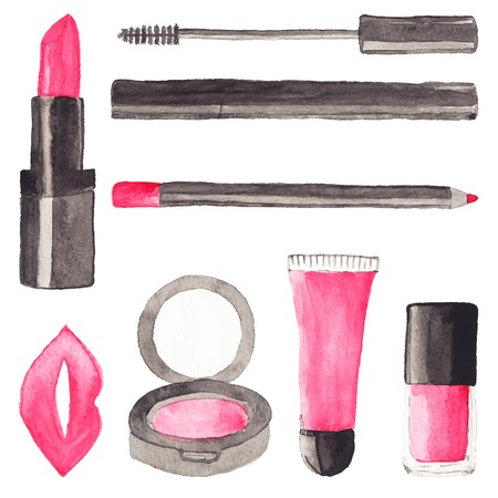 cosmetics: Make up stuff. Set of watercolor beauty items on the white background, aquarelle.  Vector illustration. Hand-drawn background. Original cosmetics background. Useful for invitations, scrapbooking, design.