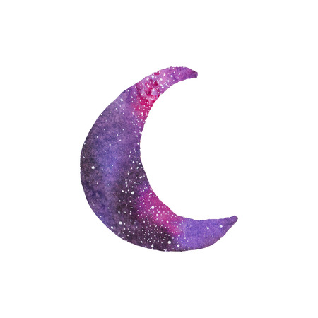 starlit: Cosmic crescent. Watercolor galaxy crescent on the white background, aquarelle. Vector illustration. Hand-drawn decorative element useful for invitations, scrapbooking, design. Native american stylization Illustration