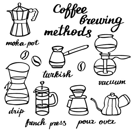 siphon: Coffee brewing methods set. Hand-drawn cartoon coffee makers. Doodle drawing. Vector illustration.