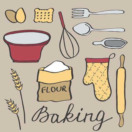 baker cartoon: Baking set. Hand-drawn cartoon utensils and ingridients. Doodle drawing. Vector illustration.