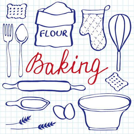 blue pen: Baking set. Hand-drawn cartoon utensils and ingridients. Blue pen doodle drawing. Vector illustration.