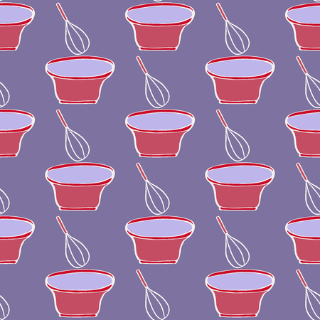 stir: Whisk and bowl. Seamless pattern with kitchen utensils. Hand-drawn sketch background. Vector illustration.