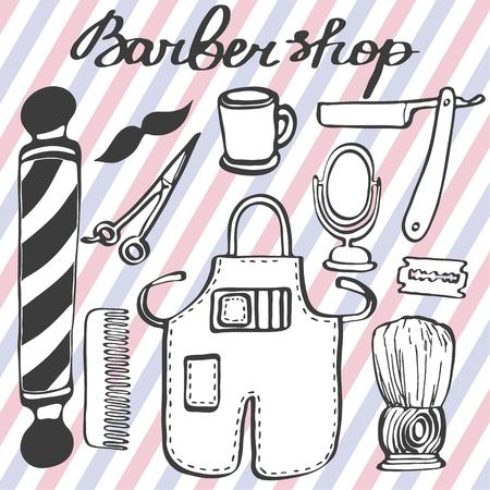 hairdresser parlor: Barbershop set. Hand-drawn cartoon hairdressing stuff. Doodle drawing. Vector illustration. Illustration