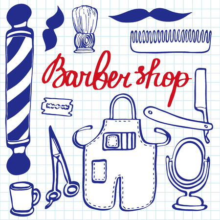 blue pen: Barbershop set. Hand-drawn cartoon hairdressing stuff. Blue pen doodle drawing. Vector illustration.