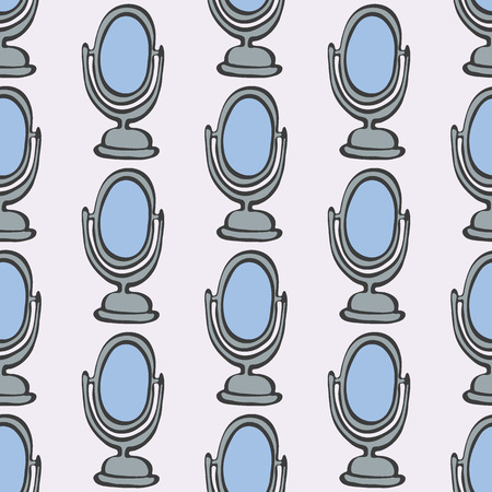 reflection in mirror: Mirror. Seamless pattern with doodle mirrors. Hand-drawn sketch background. Vector illustration.