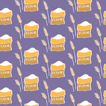 sweetener: Flour. Seamless pattern with sack of flour and wheat. Hand-drawn sketch background. Vector illustration. Illustration