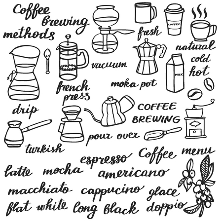 brew: Big coffee set. Hand-drawn cartoon coffee elements. Doodle drawing. Vector illustration. Illustration