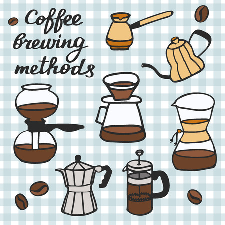 percolator: Coffee brewing methods set. Hand-drawn cartoon coffee makers. Blue pen doodle drawing. Vector illustration.