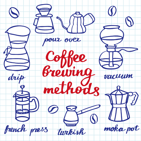 siphon: Coffee brewing methods set. Hand-drawn cartoon coffee makers. Blue pen doodle drawing. Vector illustration.