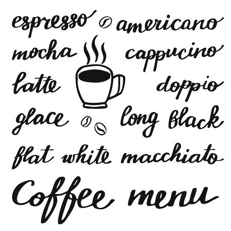 glace: Coffee set. Hand-drawn cartoon names of different coffee drinks. Doodle drawing. Vector illustration.