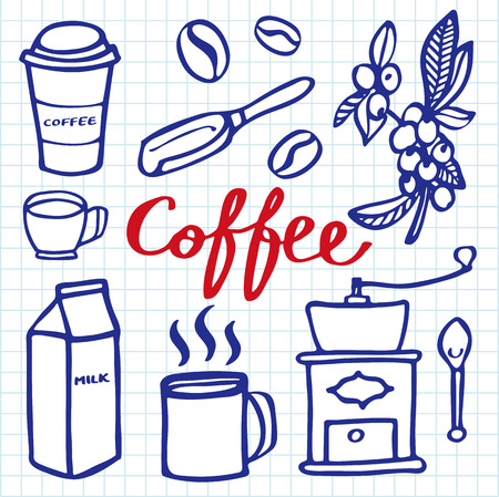 blue pen: Coffee set. Hand-drawn cartoon coffee elements. Blue pen doodle drawing. Vector illustration.
