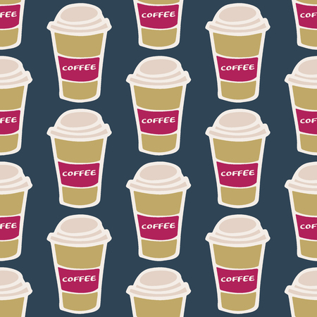 glass paper: Coffee cup. Seamless pattern with doodle paper cups.  Hand-drawn sketch background. Vector illustration.
