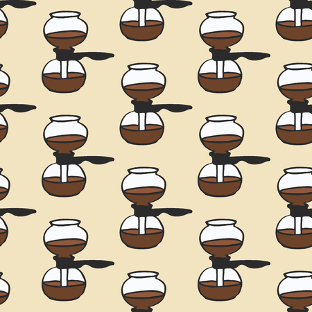 siphon: Coffee maker. Seamless pattern with doodle vacuum.  Hand-drawn sketch background. Vector illustration. Illustration