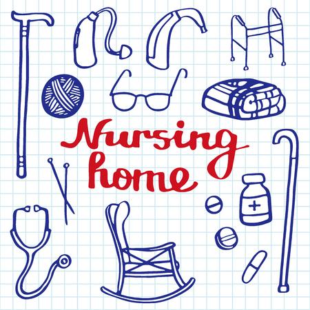 helper: Nursing home set. Hand-drawn stuff for elderly home. Blue pen doodle drawing. Vector illustration.