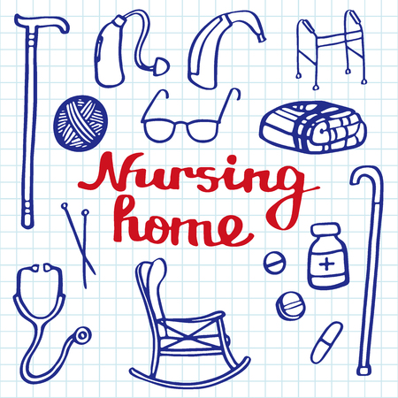 Verpleeghuis stellen. Handgetekende spullen voor ouderen thuis. Blauwe pen doodle tekening. Vector illustratie.