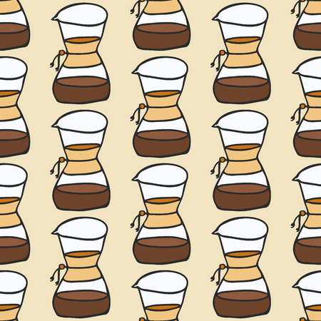 percolator: Coffee maker. Seamless pattern with doodle drip or chemex. Hand-drawn sketch background. Vector illustration. Illustration