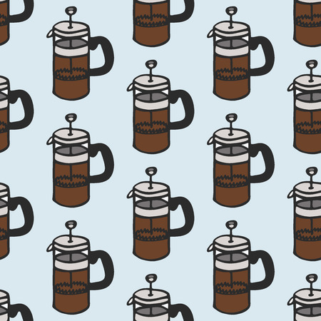 percolator: Coffee maker. Seamless pattern with doodle french press. Hand-drawn sketch background. Vector illustration.