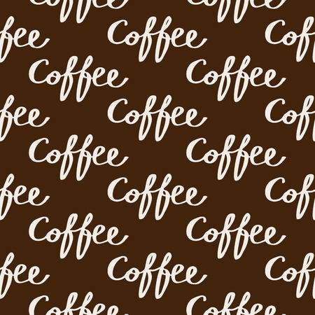textcloud: Coffee. Seamless pattern with calligraphy word coffee. Hand-drawn sketch background. Vector illustration.